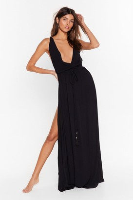 Nasty Gal Womens Beach You to It Cover-Up Maxi Dress - Black - 6