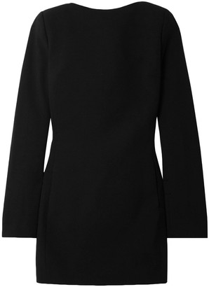 Saint Laurent Open-back Bow-embellished Wool-crepe Mini Dress