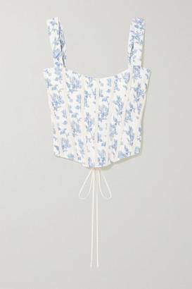 Brock Collection Grosgrain-trimmed Floral-print Cotton-blend Bustier Top - Light blue