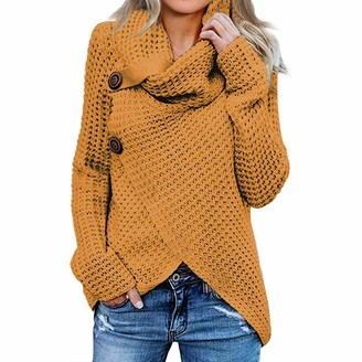 CHAOEN Women's Turtleneck Jumpers Casual Batwing Pullover Sweaters Long Sleeve Pullover Loose Chunky Knitted Jumper Tops Yellow