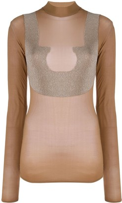 Courreges sheer high neck T-shirt