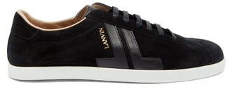 Lanvin Jl Suede And Leather Trainers - Mens - Black