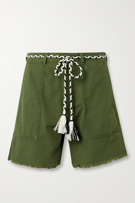 The Great The Vintage Army Belted Cotton Shorts - Army green