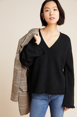 Anthropologie Joy Fringed V-Neck Sweater By in Black Size XS