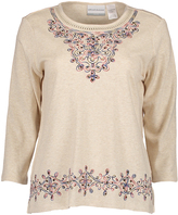 Alfred Dunner Oatmeal Three-Quarter Sleeve Top - Petite