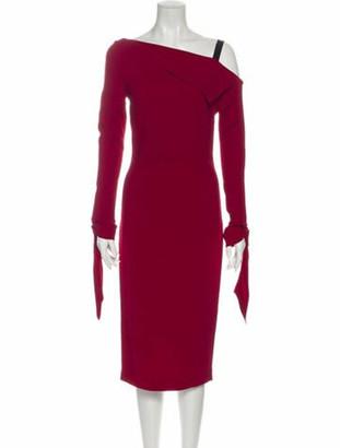 Roland Mouret One-Shoulder Midi Length Dress Red