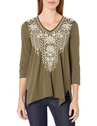 Johnny Was JWLA By Women's Tonal Embroidered 3/4 Sleeve t-Shirt