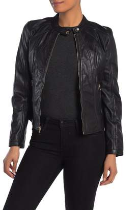 GUESS Mandarin Collar Leather Jacket