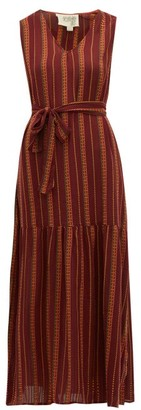 Ace&Jig Julien Belted Checked Cotton Dress - Burgundy Multi