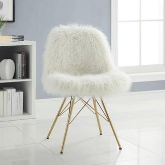 Linon Rowan Faux Fur Chair with Gold Metal Base