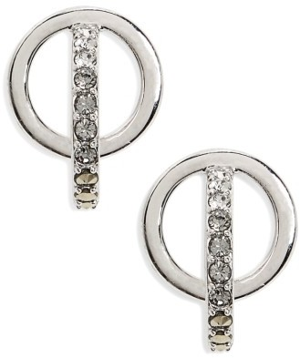Judith Jack Women's Silver Sparkle Circle Stud Earrings