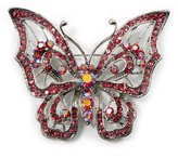 Avalaya Pink Crystal Butterfly Brooch (Silver Tone Metal)