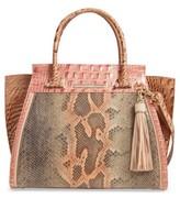Brahmin Priscilla Embossed Leather Satchel - Pink