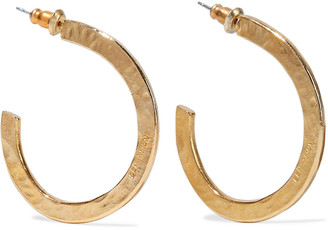 Ben-Amun Hammered 24-karat Gold-plated Hoop Earrings