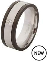 Stainless Steel, Cubic Zirconia & Black Mens Ring