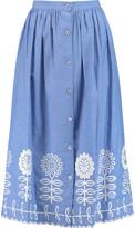 Temperley London Gilda embroidered chambray midi skirt