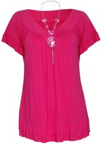 Xclusive Collection New Women Plus Size Necklace Gypsy Tops Womens Tunic Short Sleeve Tops (12, )
