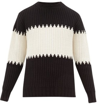 Officine Generale Striped Ribbed Cotton Blend Sweater - Mens - Black White
