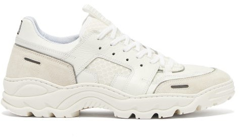 Ami Running Lucky 9 Suede And Mesh Trainers - Mens - White