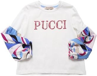 Emilio Pucci Logo L/s Cotton Blend Jersey T-shirt