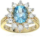 IGI Certified 14k Yellow Gold Topaz and Diamond Halo Engagement Ring (1.40 cttw.