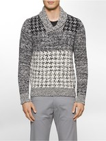 Calvin Klein Lambswool Houndstooth Shawl Sweater