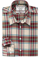 Thomas Pink Abley Check Slim Fit Button Cuff Shirt