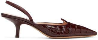 Brock Collection Burgundy Croc Slingback Heels