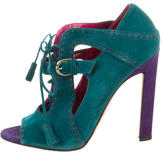 Brian Atwood Suede Peep-Toe Booties