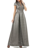 JS Collections V-Neck Metallic Jacquard Gown