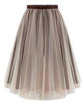 Melody Women Knee Length Ballet Sheer Ruffle Mesh Tulle Overlay Tutu Skirt