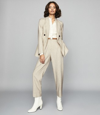 Reiss SHELLEY GRANDAD COLLAR BLOUSE WITH STITCH DETAILING Cream