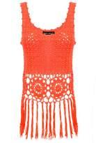 Select Fashion Fashion Womens Orange Festival Tassel Vest - size L