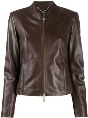 Arma Front-Zip Leather Jacket