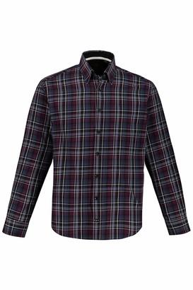 JP 1880 Men's Big & Tall Checked Shirt Burgundy XXX-Large 723346 57-3XL
