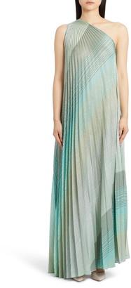 Missoni One-Shoulder Plisse Metallic Stripe Knit Gown