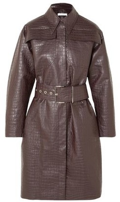 Beaufille Devera Belted Croc-effect Coated-linen Trench Coat