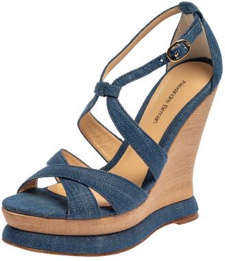 Alexandre Birman Blue Denim Fabric Wedge Sandals Size 37.5