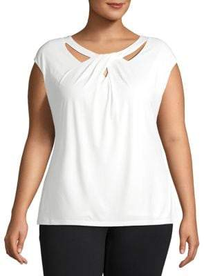 Kasper Plus Twist Neck Knit Top