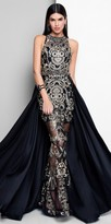 Terani Couture Sheer Embroidered Beaded Overskirt Evening Dress