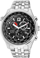 Citizen Eco-Drive Black Chronograph Dial Stainless Steel Bracelet Mens Watch