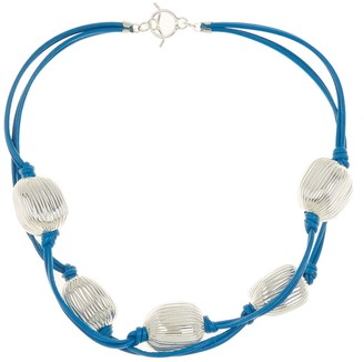 Simon Sebbag Sterling Silver & Leather Beaded Necklace
