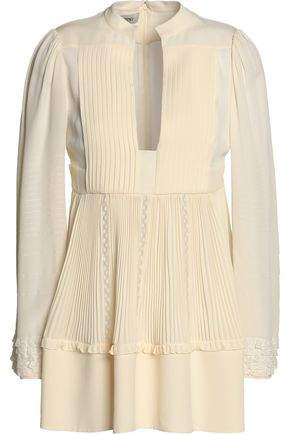 Valentino Lace-Trimmed Pleated Silk Crepe De Chine Blouse