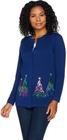 Factory Quacker Embroidered Sequin & Stud Tree Button Front Cardigan