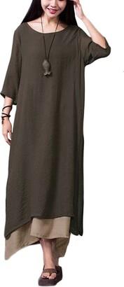 Romacci Women Vintage Dress Split Irregular Hem Casual Loose Boho Long Maxi Dresses Orange/Army Green/Coffee/Burgundy/Black (L
