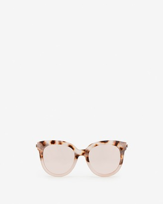 Express Round Two-Tone Plastic Frame Sunglasses