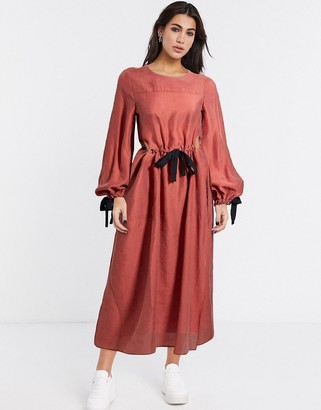 ASOS DESIGN premium casual drawstring waist midi dress with herringbone ties in terracotta