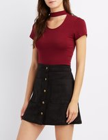 Charlotte Russe Mock Neck Cut-Out Crop Top