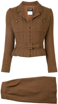 Chanel Pre Owned 1996s Tweed Set Up Suit Jacket Skirt