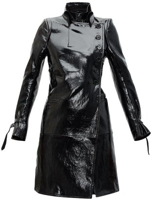 Ann Demeulemeester High-neck Coated-leather Trench Coat - Womens - Black